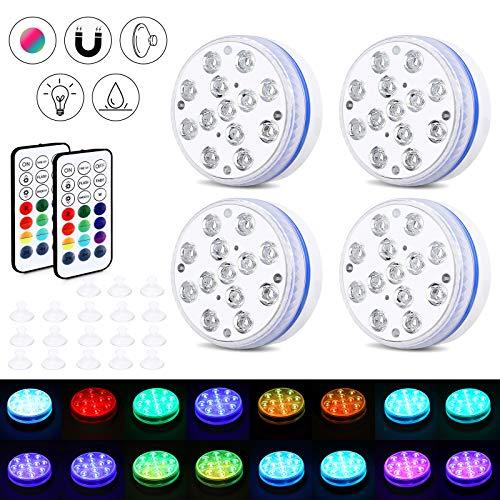 Magicfun Luz LED Sumergible, 8,5 cm Piscina Luz LED con RGB 16 Multicolores, 100% Resistente al Agua y Diseño de Sello de Carcasa, Luces de Piscina Subacuática con 4 Potentes Imanes y Ventosas(4Pcs)