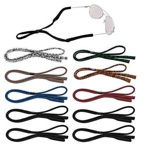 Senhai 10 pezzi Cinturini per occhiali da sole per uomo, donna e bambino, Fermi per occhiali regolabili Supporto per il collo Cordino per lo sport, la lettura - 7 colori