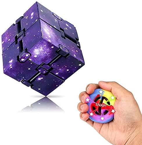 2PCS Infinity Cube&Snapper Plopperz Fidget Toy - Komfortabel Fidget Toy Würfel, Cube Würfel für Kinder&Erwachsene, Anti Stress Würfel zur Linderung von Angstzuständen, Snappers Fidget Toy für Jung Alt