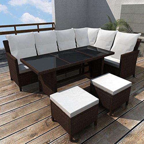 Benkeg Set Muebles De Jardín 4 Piezas Y Cojines Ratán Sintético Marrón, Conjunto De Comedor De Ratán Conjunto De Muebles De Jardín Conjunto De Sofás De Jardín