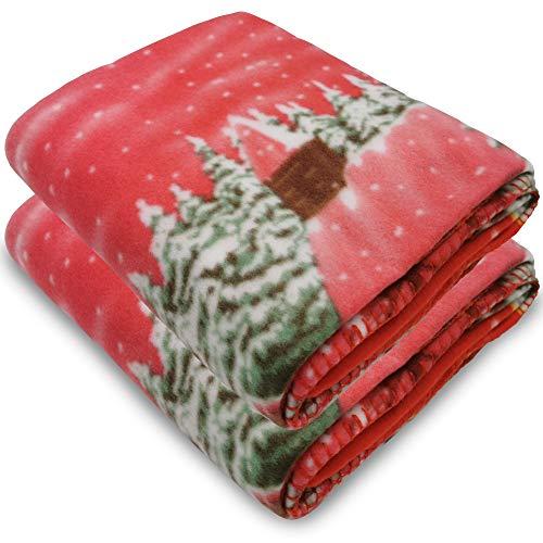nxtbuy Kuscheldecke Winterdorf 130x160 cm Rot 2er Set - superweiche Winter Wohndecke - Bedruckte Polarfleecedecke mit Weihnachtsmotiv
