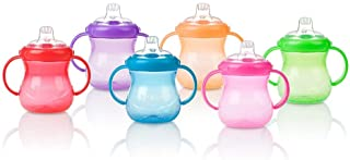 Nuby Two-Handle No-Spill Grip N' Sip Cup with Soft Spout, 10 Ounce, Colors May Vary