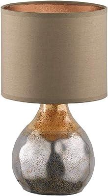 Fischer & Honsel Bollo 50113 Lampe de table 1 x E14 max. 40 W avec abat-jour en tissu Marron 18 x 18 x 31 cm