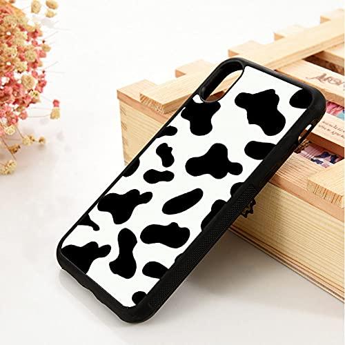 para iPhone 5 5S SE 6 6S Cubierta de la Caja del teléfono de Goma de Silicona Suave TPU para iPhone 7 8 Plus X XS 11 Pro MAX XR Cow Print Negro Blanco, para iPhone X