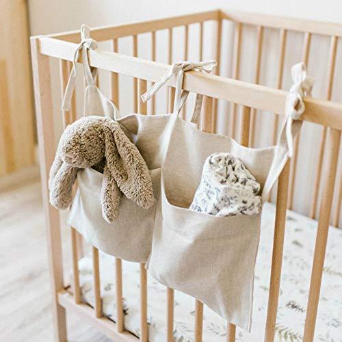 aniceday Organizador para cuna de bebé, de lino, organizador para cuna