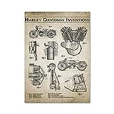 Motocicleta Invenciones Arte De La Pared Poster Motor Pintur