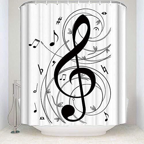 QAZX Cortina de Ducha de Tela para baño - 180x180cm Melodía Personalizada Notas Musicales en Blanco y Negro Juego de Cortinas Impermeables para baño 12 Ganchos incluidos