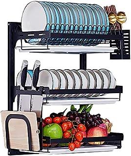 TAIDENG Égouttoir à vaisselle à 3 étages en acier inoxydable noir avec égouttoir et porte-baguettes à suspendre pour usten...