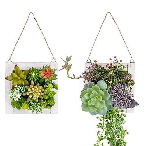 C&Z Plantes artificielles à suspendre dans un cadre en bois - Décoration murale - Plantes artificielles - Décoration murale 3D - Plantes artificielles pour salon, chambre d'enfant - Lot de 2