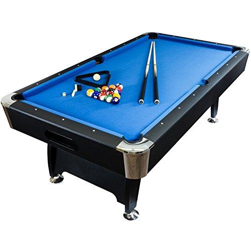 """Maxstore 7 ft Billardtisch Premium"""" + Zubehör, 9 Farbvarianten, 214x122x82 cm (LxBxH), schwarzes Dekor, blaues Tuch"""