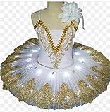 ZYLL Chicas Bailarina Ballet Tutu para niños niños niños niñas Adultos panqueques Tutu Tutu Trajes de Baile Vestido de Ballet,Blanco,120CM