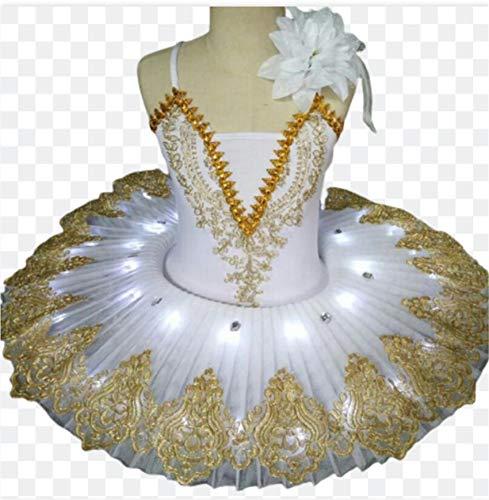 ZYLL Tut de Ballet con luz LED Profesional, Disfraz de Lago de los cisnes, Vestido de Bailarina para nias, Vestido de Ballet para nios, Trajes de Escenario de Baile,Blanco,160CM