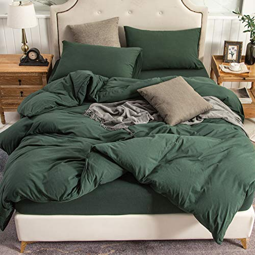PURE ERA Jersey Knit Duvet Cover Set 100% T-Shirt Cotton...