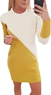 Womens Pullover Long-Sleeves Knitting Spell Color Sweater Dress