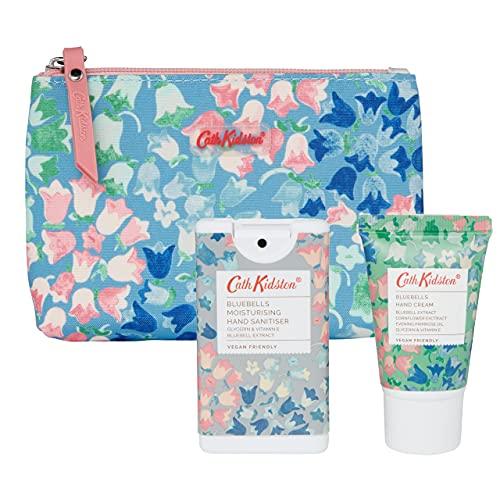 Cath Kidston Beauty Bluebells Kosmetiktasche, 30 ml Handcreme und 15 ml feuchtigkeitsspendendes, antibakterielles Handspray
