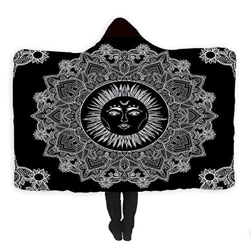 Sun Bohemian Hooded Blanket Tragbare Wollplüsch-Sherpa-Decke Decke Sofa / Bett / Flugzeug Reisebettdecke Decke in Kappengröße (130 cm x 150 cm)