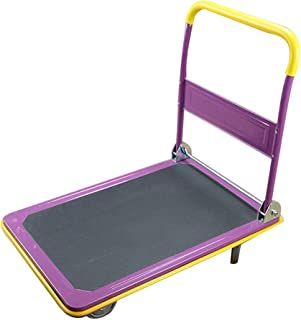 Platform trolley HXBH Folding trolley Portable Silent four-wheel trolley Lightweight and durable flatbed trolley with 2 retractable ropes