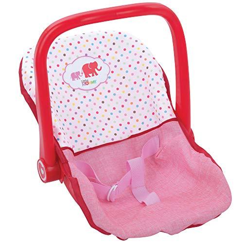 Hauck- Little Mommy Coche cinturón de Seguridad con 3 Puntos, Asiento, Porta muñecas, también se Puede Usar como balancín, Color Rosa/Rojo (1)