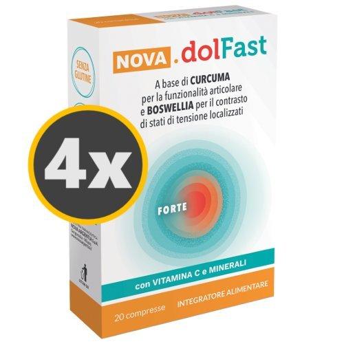 4 Nova.dolFast Forte 20 compresse a base di CURCUMA per la funzionalità articolare e BOSWELLIA per il contrasto di stati di tensione con Vitamina C e Minerali