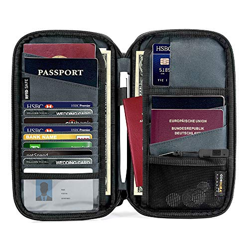 tomtoc Family Passport Holder with a Sim Card Slot and Eject Pin, RFID Blocking Travel Passport Wallet, Waterproof Ticket Document Organizer Bag with Chain Strap, Up to 6 Passports 9 Credit Cards