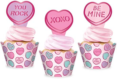 xo Fetti Valentines Day Decorations Cupcake Toppers Wrappers set of 24 Be Mine Candy Heart Vday product image