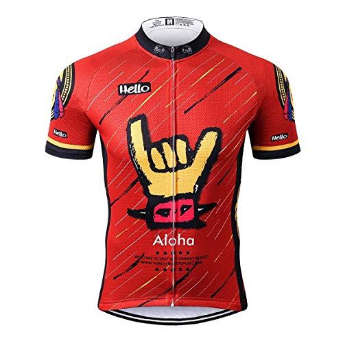 Thriller Rider Sports® Herren Aloha Red Sport & Freizeit MTB Fahrradbekleidung Radtrikot Large