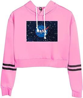 Silver Basic NASA Logo Bambino Felpa con Cappuccio Ragazza Maglia Colore Puro