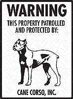 クラウド ジャック ゴールド ヴィンテージ 壁装飾 警告 ケイン コルソ Property Patrolled Protected Sheet Iron Metal Tin Sign Beware Dog Sign 8 X 12 サイン アルミ.