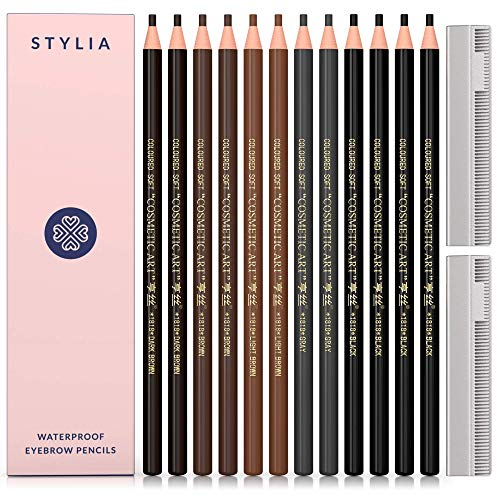 Microblading Supplies Waterproof Eyebrow Pencil - 12 Piece Brow Mapping Pencil Set For Marking, Filling And Outlining, Tattoo Makeup Kit And Permanent Makeup Eye Brow Liners In 5 Colors