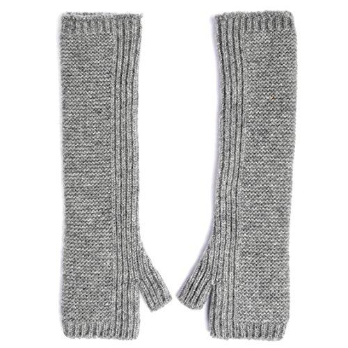 Graham Cashmere Women's Pure Scottish Cashmere Long Length Purl Wristwarmers One size Grey