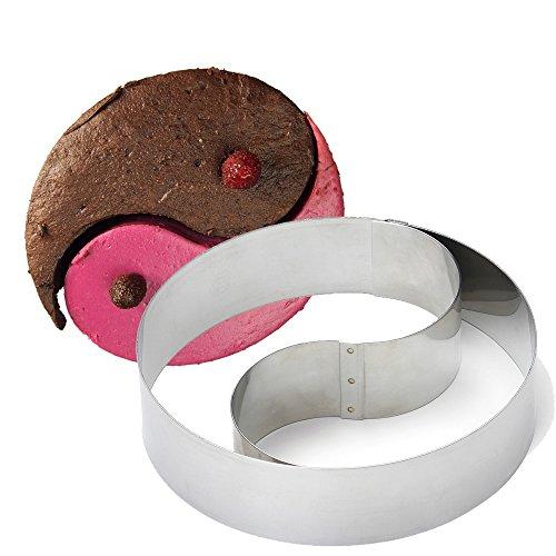 Gobel 890650 Cercle à Mousse/Emporte-Pièce forme Duo Ying & Yang Bombé Inox Ø 18 cm