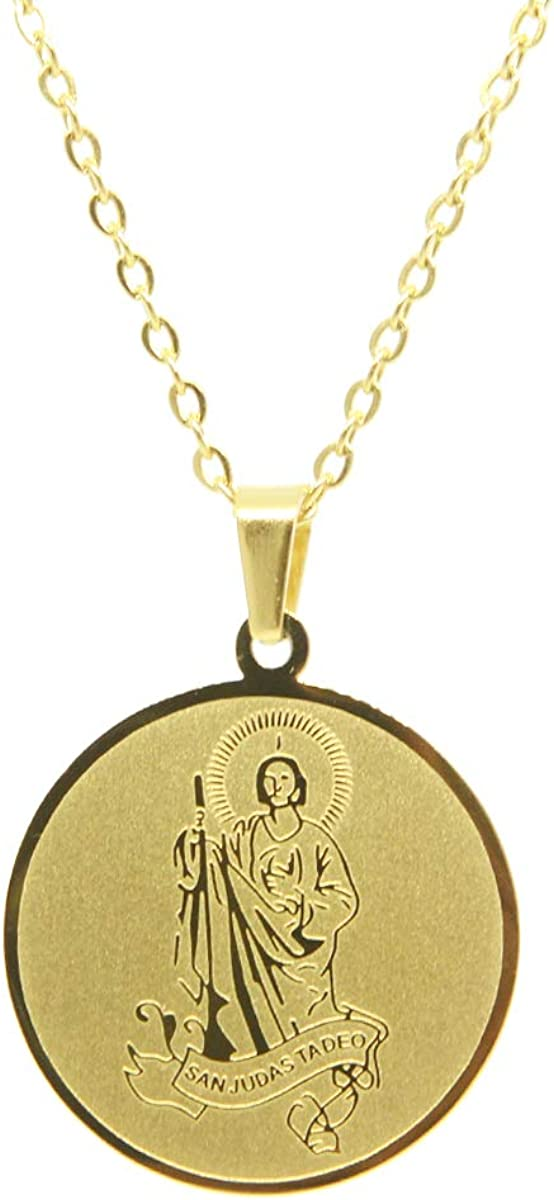 AA Saint Jude Thaddeus Catholic Stainless Steel Pendant with Chain (SSPJ27MDCH-G)