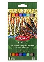 Derwent Academy ツインチップマーカー ブラシ/細字 8本パック (98206)