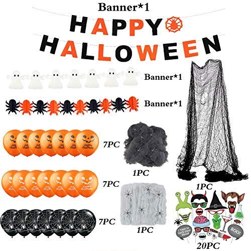 Hook Addobbi di Halloween,Decorazioni Halloween Casa,Kit Halloween Party,Festoni Halloween,BannerdiHalloween Palloncini,Palloncino, Striscioni, Ragnatela, Ragno, Tenda, 20PcsAccessori per Foto