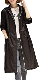 Mogogo Women's Plus-Size Hoodie Pockets Jacket Mid-Long Trench Coat Cardigan