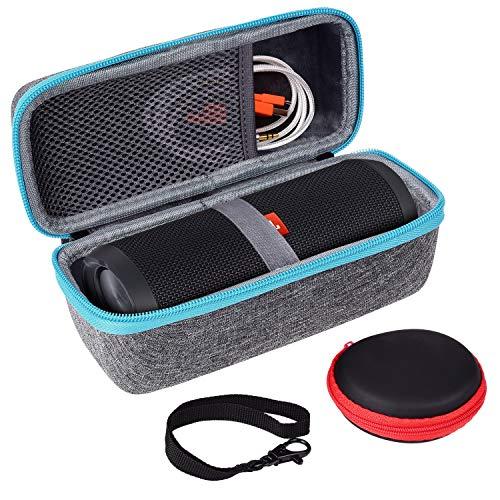 Hart Tasche für JBL FLIP 5 4 3, SKYNEW JBL Tuner Case mit Kopfhörer Taschel, Schutzhülle für JBL Flip Bluetooth Box Hellgrau Hülle portabler Lautsprecher and Zubehör
