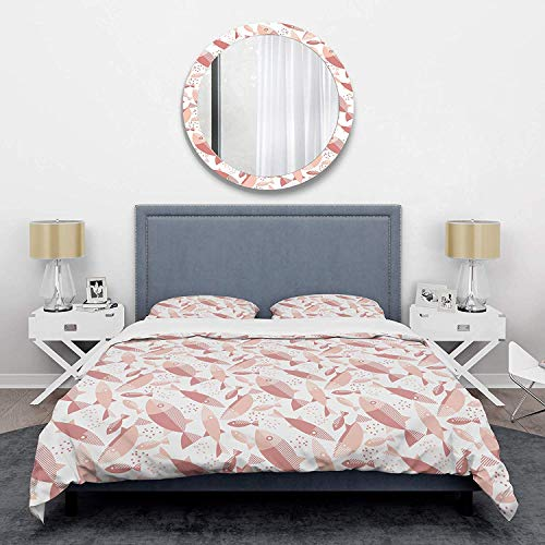 966 Duvet Cover 3 Piece Set Ultra Soft Microfiber Bedding Set Pink Fishes Pattern Mid-Century Design