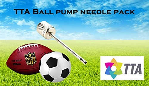 TTA X 10 Ball Pump Needles For Sports/Football/Soccer/Rugby/Basketball/Volleyball/American Football/Netball – Universal Inflating Valve Air Adaptor For Hand And Foot Pump Inflation (10 NEEDLES)