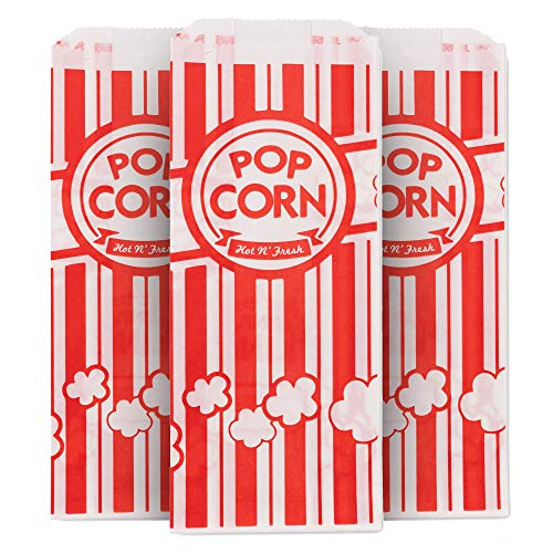 Stock Your Home 1 Ounce Popcorn Bags (25 Count) - Popcorn Bags for Popcorn Machine - Disposable Popcorn Bags for Movie Theaters, Amusement Parks, Festivals, Concession Stands, Themed Parties