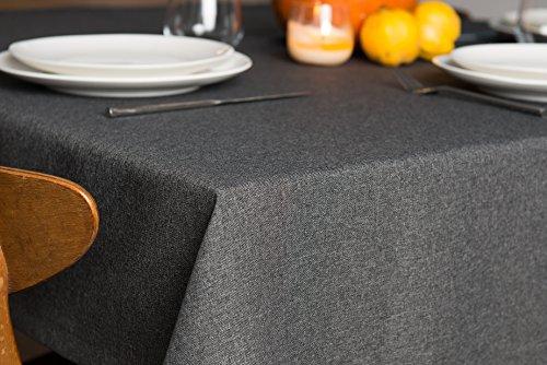 ROLLMAYER abwaschbar Tischdecke Wasserabweisend / Lotuseffekt (Melange Grau 68, 120x120cm) Leinenoptik Tischtuch mit pflegeleicht Fleckschutz, Quadratisch, Farbe & Größe wählbar