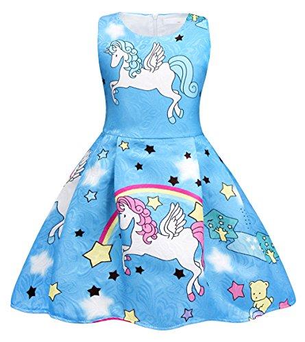 AmzBarley Vestido Traje Disfraz Pincesa Unicornio Niña Navidad Fiesta Desigual,Disfraz Angel Infantil sin Marga para Ceremonia Boda Bautizo Baile Cumpleaños Halloween Azul3 5-6 Años 120