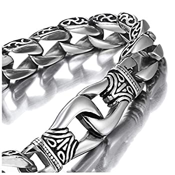 Amazing Stainless Steel Men s link Bracelet Silver Black 9 Inch  With Branded Gift Box