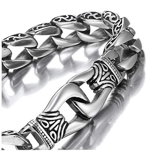Sagenhaftes Edelstahl Herren Glieder Armband Silber Schwarz 23 cm (Mit Marken Geschenkschachtel)