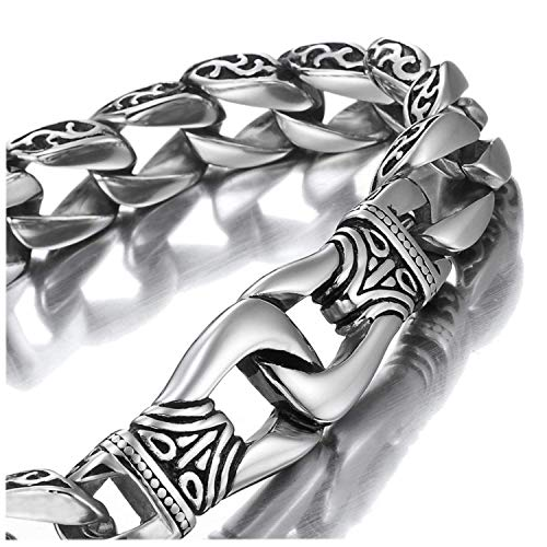 Amazing Stainless Steel Mens link Bracelet Silver Black 9 Inch (With Branded Gift Box)