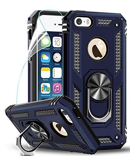 LeYi Funda iPhone SE/5S/5 Armor Carcasa con 360 Anillo iman Soporte Hard PC y Silicona TPU Bumper antigolpes Fundas Carcasas Case para movil iPhone SE/5S/5 con HD Protector de Pantalla,Azul