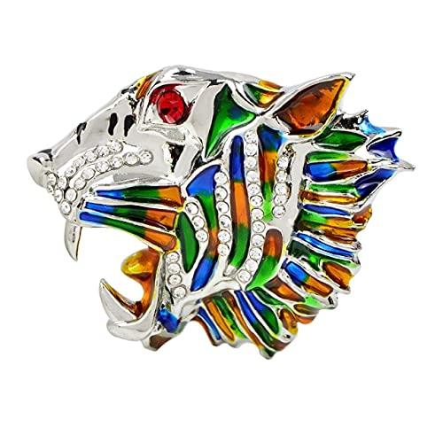 Broche de cabeza de tigre de esmalte colorido vintage broche de diamantes de imitación de cabeza de leopardo de cristal para mujeres y hombres