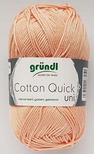 Gründl Wolle 50 Gramm Cotton Quick 100% Baumwolle (mercerisiert, gasiert, gekämmt (134 Aprikose)