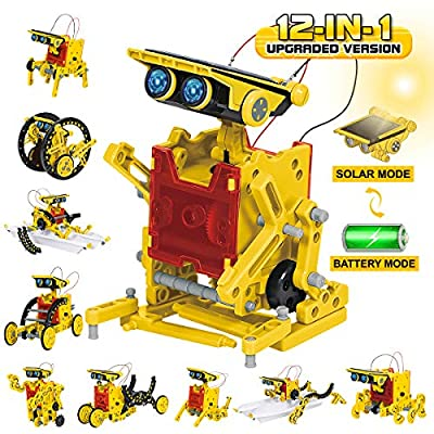 GILOBABY Solar Robot Kit 12 in 1 STEM Educational Toys DIY Building Science Experiment Learning Solar Powered Robotic Puzzle Set for Kids Teens and Science Lovers Age 8+