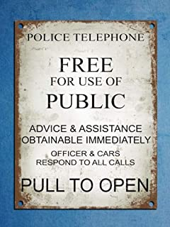 Warning Plaque 12x16 inch Metal tin Sign Metal Plaque Retro Vintage Style Police Phonebox Tardis Dr Who Wall Door Sign
