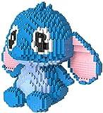 Bloques De Construcción De Stitch para Niños Mini Bloque De Diamantes Ensamblar Dibujos Animados Modelo Juguetes Regalos,Azul